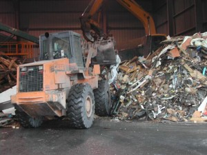 A loader handles material to be recycled at our state-of-the-art facility in Orange County, NY.