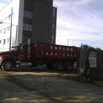 Roll-off dumpster delivery at SUNY Albany.
